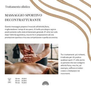 Trattamento Olistico  Massaggio Sportivo Decontratturante